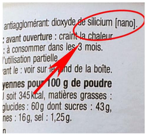 nano-silice étiquetage alimentaire