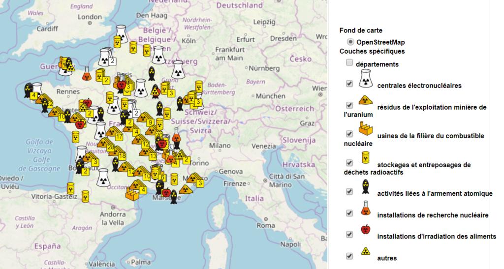 carte de france des centrales nucléaires